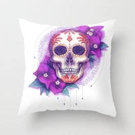 Mexican Skull with Bugambilias Throw Pillow
