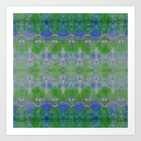Watercolour Tribal Green Art Print