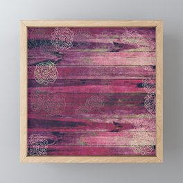 Shabby Pink Wood with Flowers Framed Mini Art Print