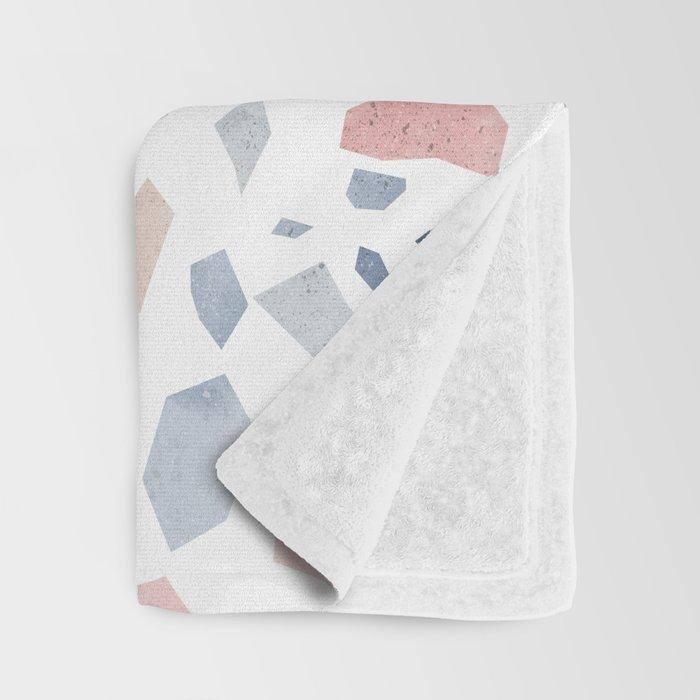 Terrazzo vintage pastel blue pink Throw Blanket