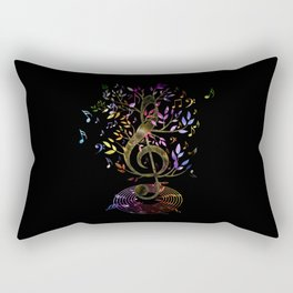 Glowing Treble Clef tree with colorful Music Notes Rectangular Pillow
