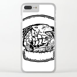 Wolf Pirate Ship Banner Retro Clear iPhone Case