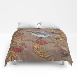 Waxwing Winter Feast Comforters