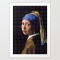 Lego: Girl with a pearl earring Art Print