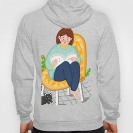 Reading Girl And Cat Hoody