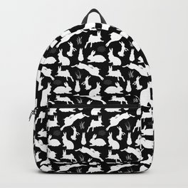 Rabbit Pattern | Rabbit Silhouettes | Bunny Rabbits | Bunnies | Hares | Black and White | Backpack