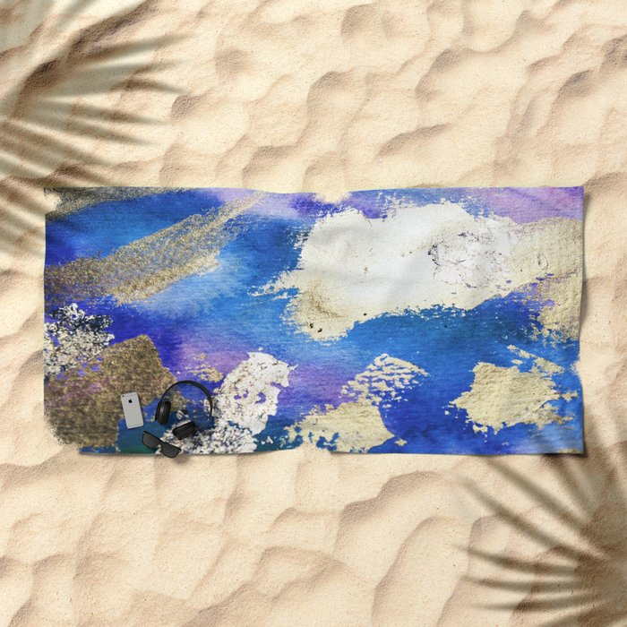 Gold Ocean Abstract Modern Design Beach Towel