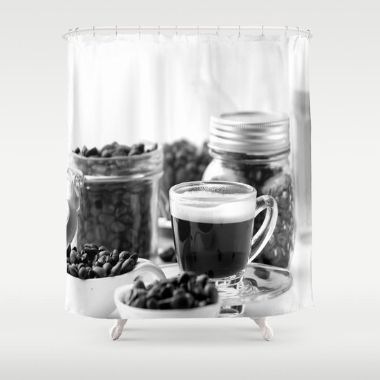 black and white coffee bar shower curtain by tanja riedel