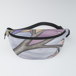 red breasted nuthatches in the stained glass tree Fanny Pack