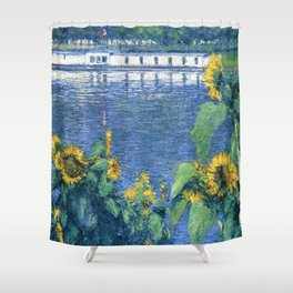 Sunflowers on the Banks of the Seine by Gustave Caillebotte Shower Curtain