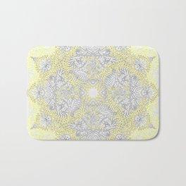 Sunny Doodle Mandala in Yellow & Grey Bath Mat