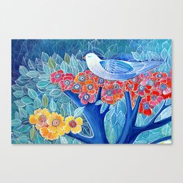 Bird in a tree with leaves colorful blues Canvas Print