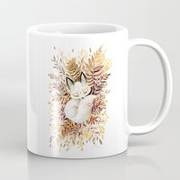 leaves Mugs featuring Slumber by Freeminds