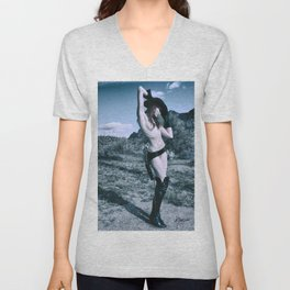 2957 Cowgirl Cate Six Shooter Domme - Cowboy Ranch Classic Editorial Fashion Erotica Unisex V-Neck