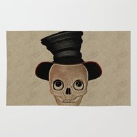 mad hatter Area & Throw Rugs featuring Mad Skull Hatter by Texnotropio