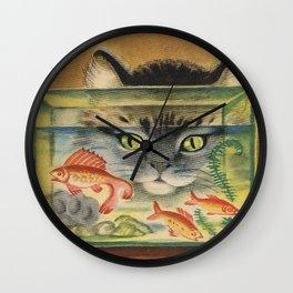 Cat Looking at Goldfish Vintage Art Wall Clock
