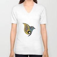 persian V-neck T-shirts featuring Persian Bird by Katayoon Photography