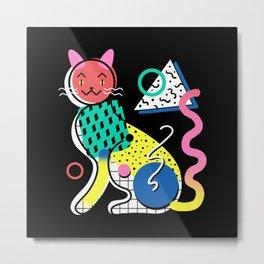Memphis Cat Design Metal Print