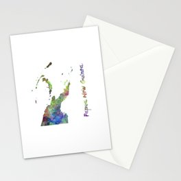 Papua New Guinea in watercolor Stationery Cards