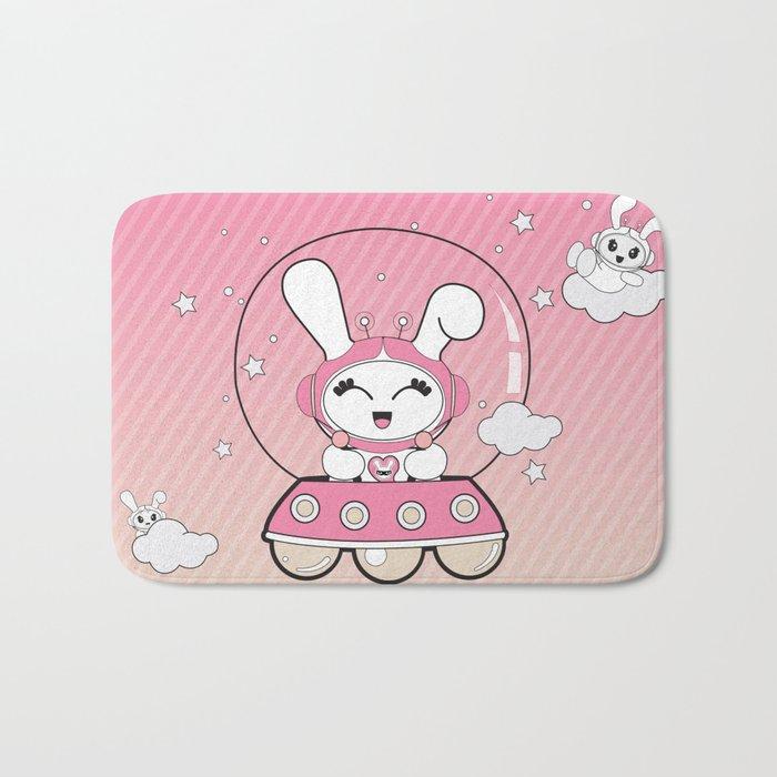 Space Bunny Flying Bath Mat