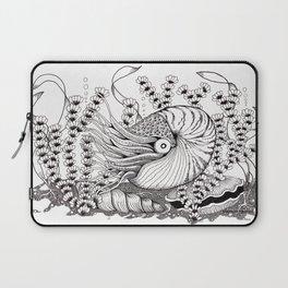 Zentangle Nautilus in the Ocean Illustration Laptop Sleeve