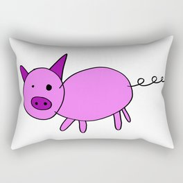 Childishly drawn cute pig cartoon Rectangular Pillow