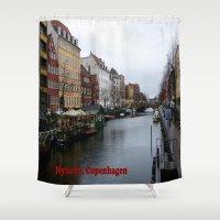 copenhagen Shower Curtains featuring Nyhavn, Copenhagen  by Created by Eleni