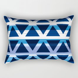 Blue and White Triangle Pattern Design Rectangular Pillow