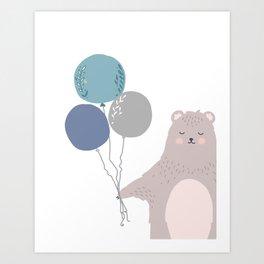 Boys nursery print, bear holding balloons. Art Print