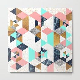 Mosaic geometric with textures Metal Print