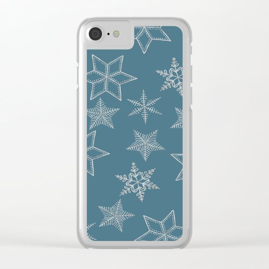 Silver Snowfakes On Teal Background Clear iPhone Case