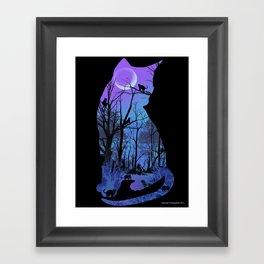 CAT MOON Framed Art Print