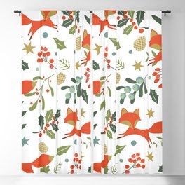 Cute foxes and winter evergreens pattern Blackout Curtain
