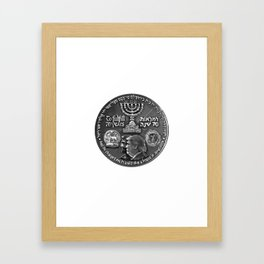Trump Israel 70th Anniversary Temple Coin Art (Front Side) Framed Art Print