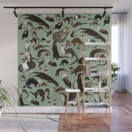 Otters of the World pattern Wall Mural