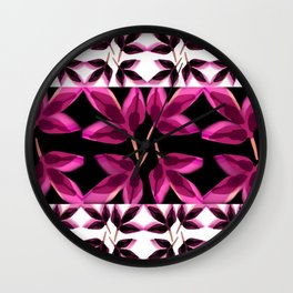 Pink Charcoal Leaves Wall Clock
