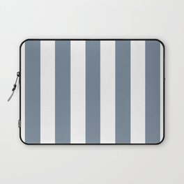 Light slate gray - solid color - white vertical lines pattern Laptop Sleeve