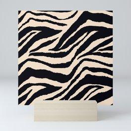 Zebra Animal Print Black and off White Pattern Mini Art Print