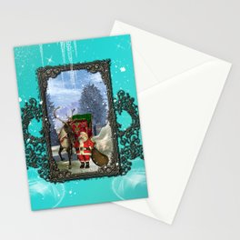 Santa Claus with reindeer Stationery Cards