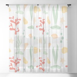 cute summer pattern background with seashells, corals and starfishes Sheer Curtain
