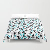 80s Duvet Covers featuring Missy - 80s Retro, Throwback Memphis Inspired Design by CharlotteWinter