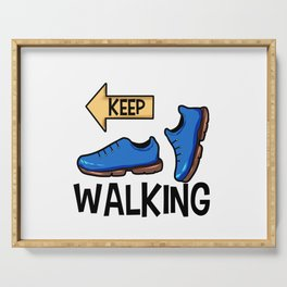 Keep Walking Yellow Sign Pilgrim Buen Camino Present gift Serving Tray