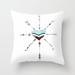 Which Way Love Compass Arrow Heart Throw Pillow