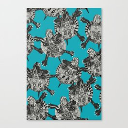 turtle party surf blue Canvas Print
