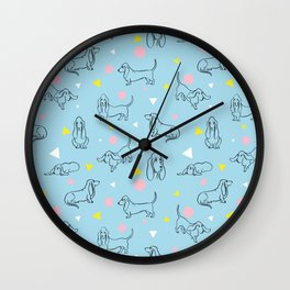 Colorful Basset Hounds Pattern Wall Clock