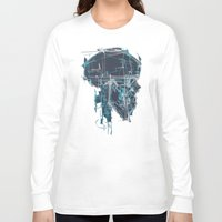 blueprint Long Sleeve T-shirts featuring Cranial Blueprint by James Beech