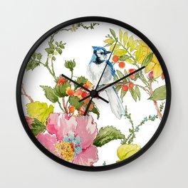 Bluejay Bird Day Floral Wall Clock
