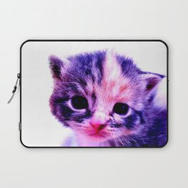 Blue Pink Cute Little Cat Laptop Sleeve