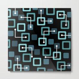 Midcentury 1950s Tiles & Squares Black Turquoise Metal Print
