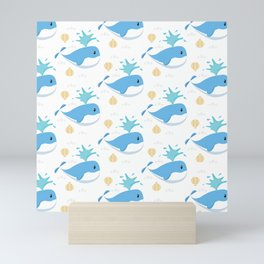 Whales Cute Pattern Mini Art Print